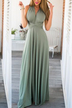 Grey-green Multiway Self-tie Sleeveless Maxi Dress