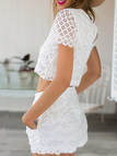 White Crop Top and Middle Waist Co-ord with Crochet Lace Details