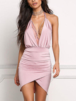 Sexy Pink Halter Backless Asymmetrical Hem Bodycon Dress