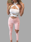 Ripped High-Rise Skinny Jean in Light Pink