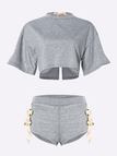 Grey Sexy Lace-up Design Top & Bottoms Tracksuit