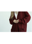 Burgundy Button Front Longline Cardigan In Knit