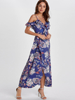 Random Floral Print Slit Hem Maxi Dress