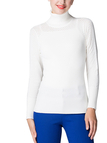 White Hollow Out High Neck Jumper