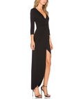 Black V-neck Long Sleeves Dress With Irregular Hem