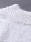 White Off Shoulder Chunky Furry Detail Jumper