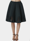 Dark Green Midi Full Skirt With Cut Flowers Hem