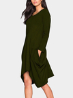 Army Green Two Pockets Round Neck Irregular Dress