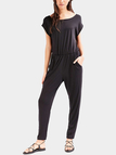 Black Open Back Elastic Waist Jumpsuit