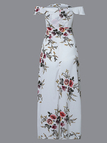 White Random Floral Print Off Shoulder Splited Hem Dress