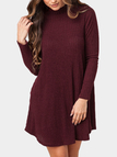 Burgundy Casual Grey High Neck Mini Dress With Pocket