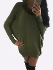 Army Green Scoop Neck with Fur Bat Sleeves Mini Dress