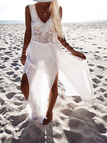 Plunge gewebte ärmellose seitliche Split Beach Dress