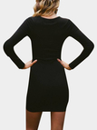 Black Tight Hollow Design Round Neck Long Sleeves  Party Dresses