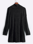 Black Casual Knitted High Neck Curved Hem Sweater