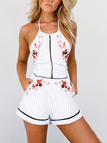 White Sexy Halter Random Floral Print Playsuit