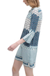 Floral Print Tunic With Studded Placket In Blue