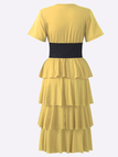 Tiered Design Corset T-shirt Dress in Yellow