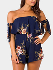 Vintage Floral Print Strapless Playsuit in Navy Blue