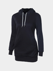 Loose Pullover Plain Black Color White Drawstring Sweatshirt