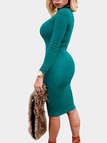 Green High Neck Long Sleeves Bodycon Mini Dress