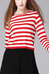 Red Round Collar Stripe Knitted Jumper