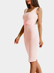 Pink Pleated at Waist Knee Length Dress