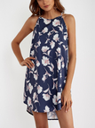 Navy Random Floral Print Curved Hem Sleeveless Mini Dress