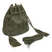 Leather-look Hollow Out Embroidery Bucket Bag