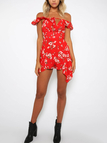 Red Sexy Random Floral Print Off Shoulder Flouncy Details Playsuit
