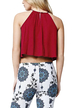 Red Halter Hollow Lace Crop Top