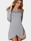 Grey Casual Irregular Hem Mini Dress