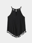 Black Sleeveless Halter Curved Hem Tassel Camis