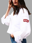 Active Letter Pattern Flared Sleeves Sweatshirts in White