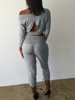 Grey V-neck Backless design High Waisted Suits