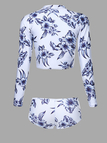 Floral Pint Long Sleeve Rash Guard & Bikini Bottom Set