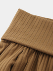 Khaki Plain Off The Shoulder Long Sleeves Knitted Top