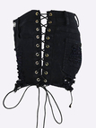 High-waist Lace-up & Ripped Design Denim Shorts in Black