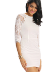 White Raglan Sleeve Lace Mini Dress