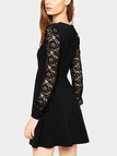 Black Crew Neck Long Sleeves Stitching Lace Dress