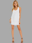 White Casual Round Neck Backless Mini Dress