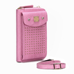 Foldover Leather-look Zipper Mobile Purse in Pink