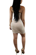 Khaki Lace-up Front Sleeveless Bodycon Hem Dresses with Thin Shoulder Straps
