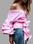 Pink Sexy V-neck Lantern Sleeves Knotted Shirt