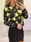 Black Star Print Round Neck Long Sleeves Top