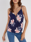 Royal Blue V-neck Random Floral Print Cami with Zipper Design