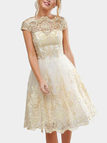 Gold Crochet Lace Hollow Big Hem Party Dresses