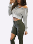 Grey Casual Hooded Lace-up Long Sleeves Sweatershirt