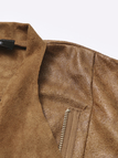 Brown Suede Fabric Zipper Biker Jacket