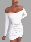 White Off-The-Shoulder Wrap Mini Dress